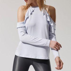 f7d5e04e32b63c Beyond Yoga Tops - beyond yoga    gray cold shoulder frill pullover